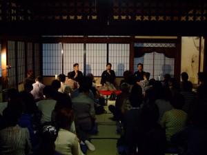 トークショー 左から菊央雄司、藤原道山、岡村慎太郎